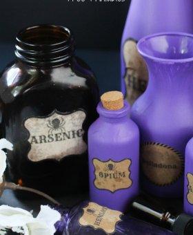 DIY Halloween Potion Bottles w/FREE Printable Labels
