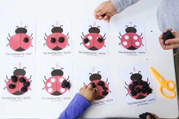 ladybug math counting mats with play dough