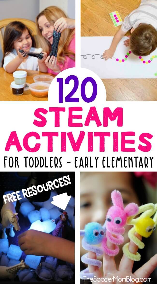 Whether you're looking to keep brains busy on a school break, or for simple ways to learn at home, this collection of STEAM activities for kids is full of ideas! There are hours of easy to set up activities for kids!