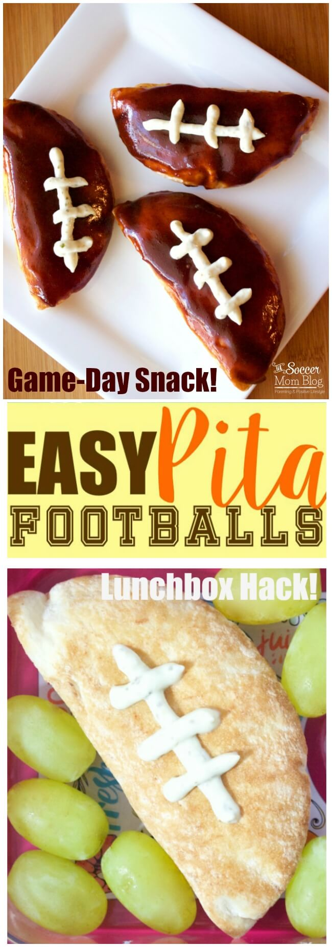 This is the EASIEST football appetizer you'll ever make! Perfect for game day and tailgate parties and the kids lunchbox too!