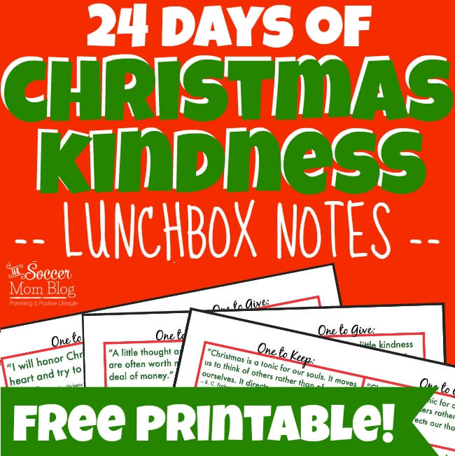 Spread cheer with these FREE printable Christmas Kindness Lunchbox Notes! 24 holiday & kindness quotes for the holidays - plus extras to share with friends!