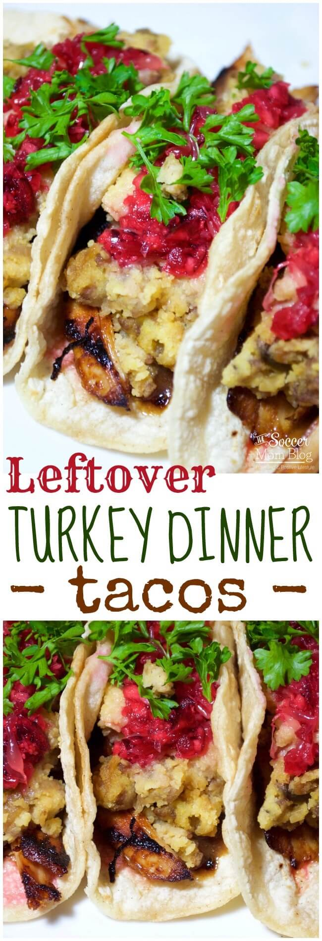 Forget a boring old sandwich! These Leftover Turkey Dinner Tacos are ready in minutes, packed with bold flavor, and a lighter alternative to bread!