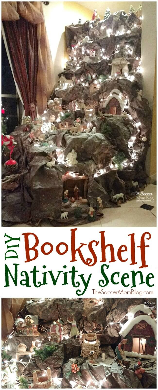This DIY Nativity Scene is absolutely stunning - easy to recreate at home with simple up-cycled materials and a bookshelf!
