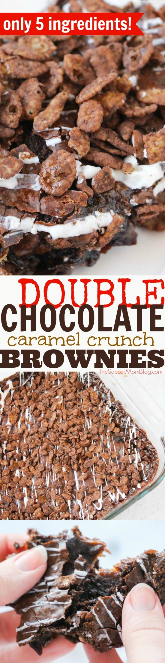 """The best brownies ever!"" These Double Chocolate Caramel Crunch Brownies win high praise and leave no leftovers! Easy holiday dessert recipe box brownie mix hack."