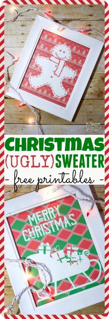 Add a fun & funky touch to your holiday party decor with FREE Ugly Christmas Sweater Printables Simply print and frame for quick, easy decorations!