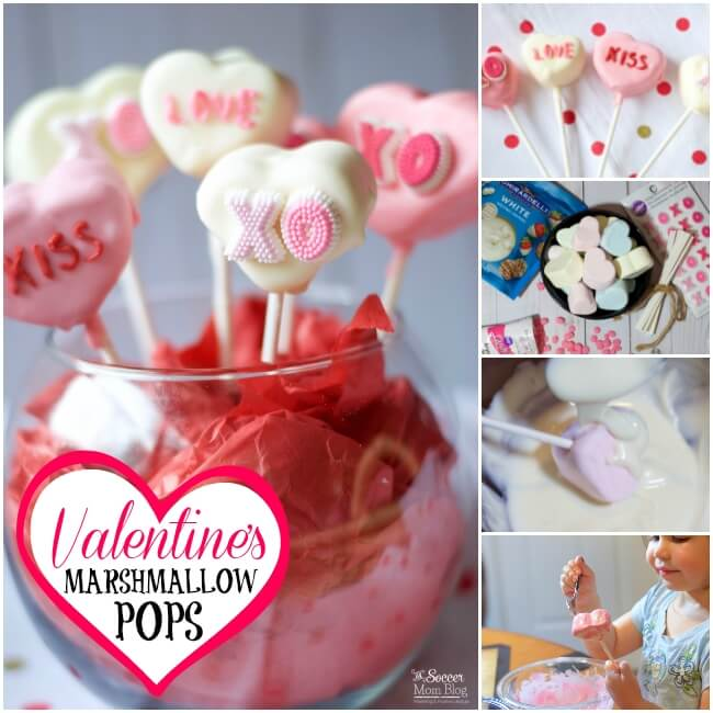 Conversation heart marshmallow pops