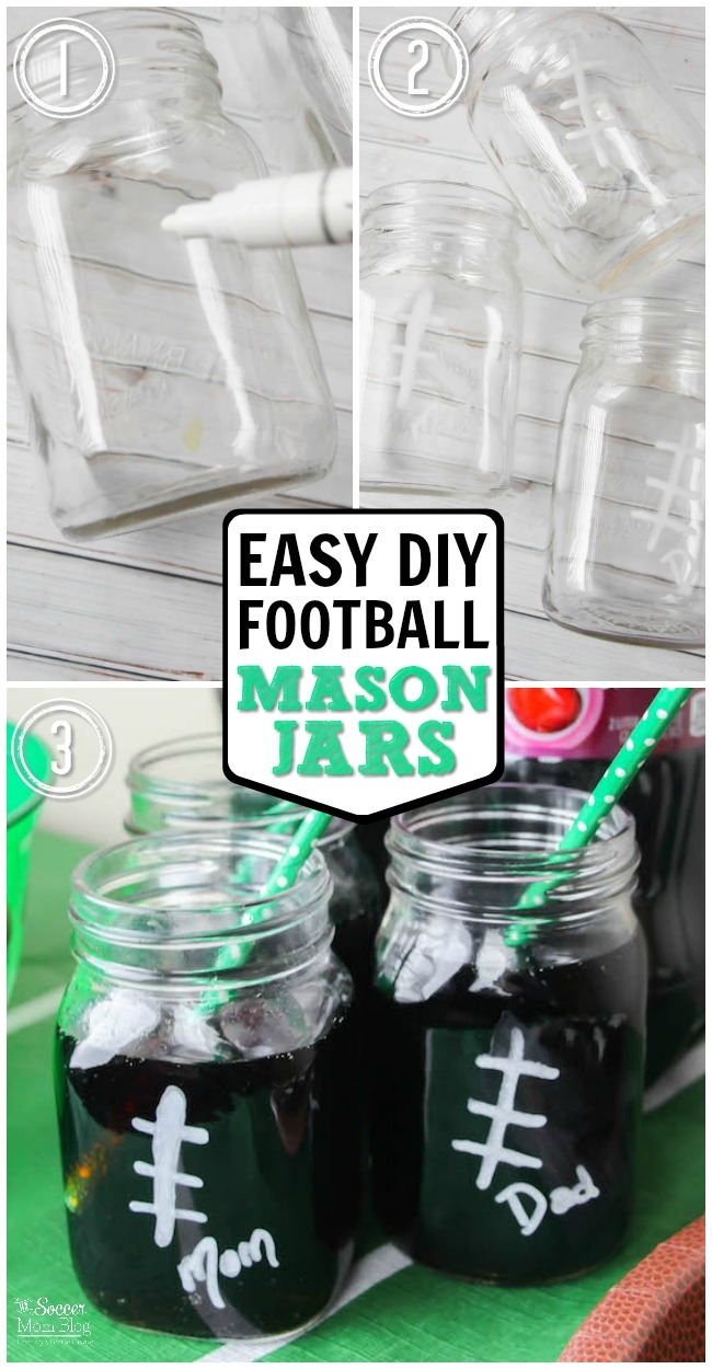 Easy super bowl or game day party drink idea: DIY Football Mason Jars