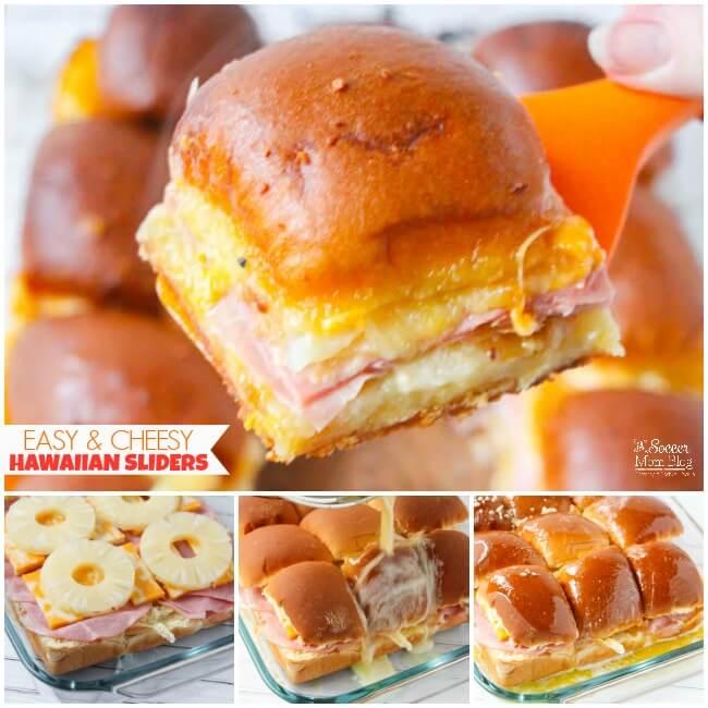 Notre recette préférée de Hawaiian Sliders - riche, au fromage et facile à préparer! L'apéritif parfait de la fête du jeu! Plus des conseils pour organiser une fabuleuse super bowl party avec un budget limité!