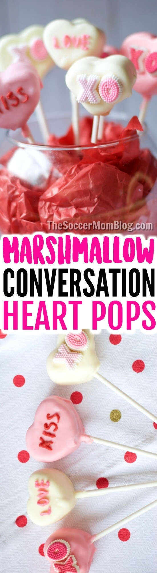 Chocolate-dipped Conversation Heart Marshmallow Pops are easy enough for kids to make and absolutely adorable Valentine's Day gifts!