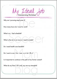 Ideal Job Worksheet for moms wanting to make extra money