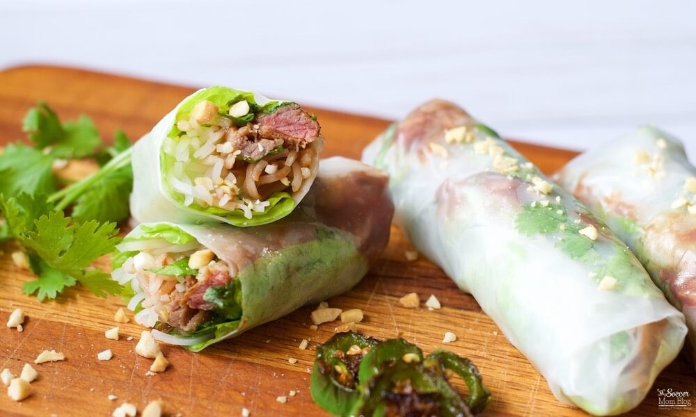 Spicy BBQ Spring Rolls are as fun to make as they are to eat! A unique twist on a Vietnamese classic appetizer. Photo step-by-step and easy video tutorial.