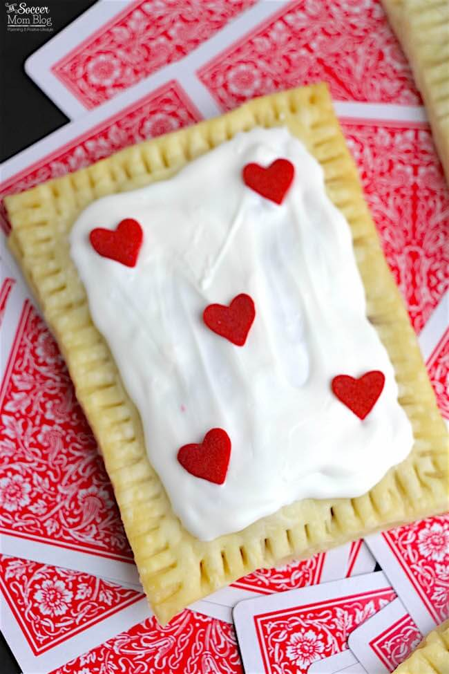 Close up of a homemade pop tart with heart decorations