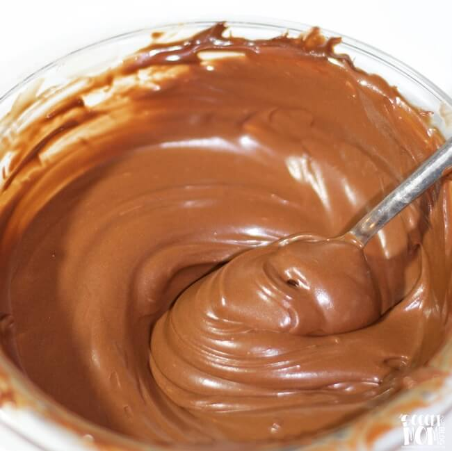 Healthy Coconut Oil Chocolate Frosting in mixing bowl