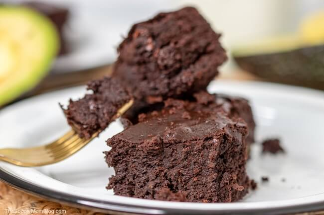 stack of chocolate brownies made with avocado