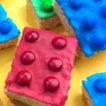 Rice Krispie treats made to look like LEGO bricks
