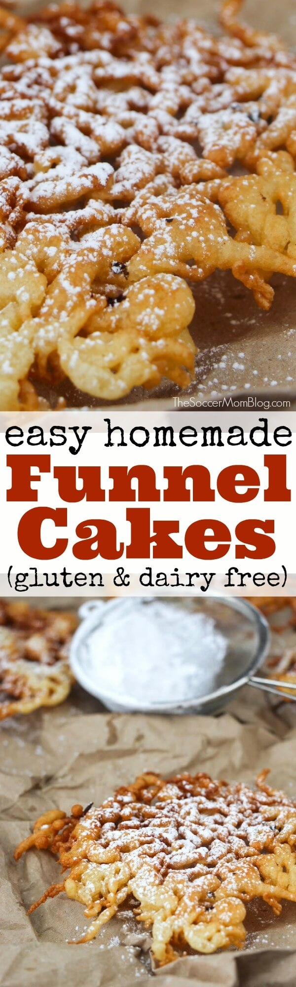 A gluten free funnel cake recipe that's sure satisfy your sweet dough cravings, without the wheat!