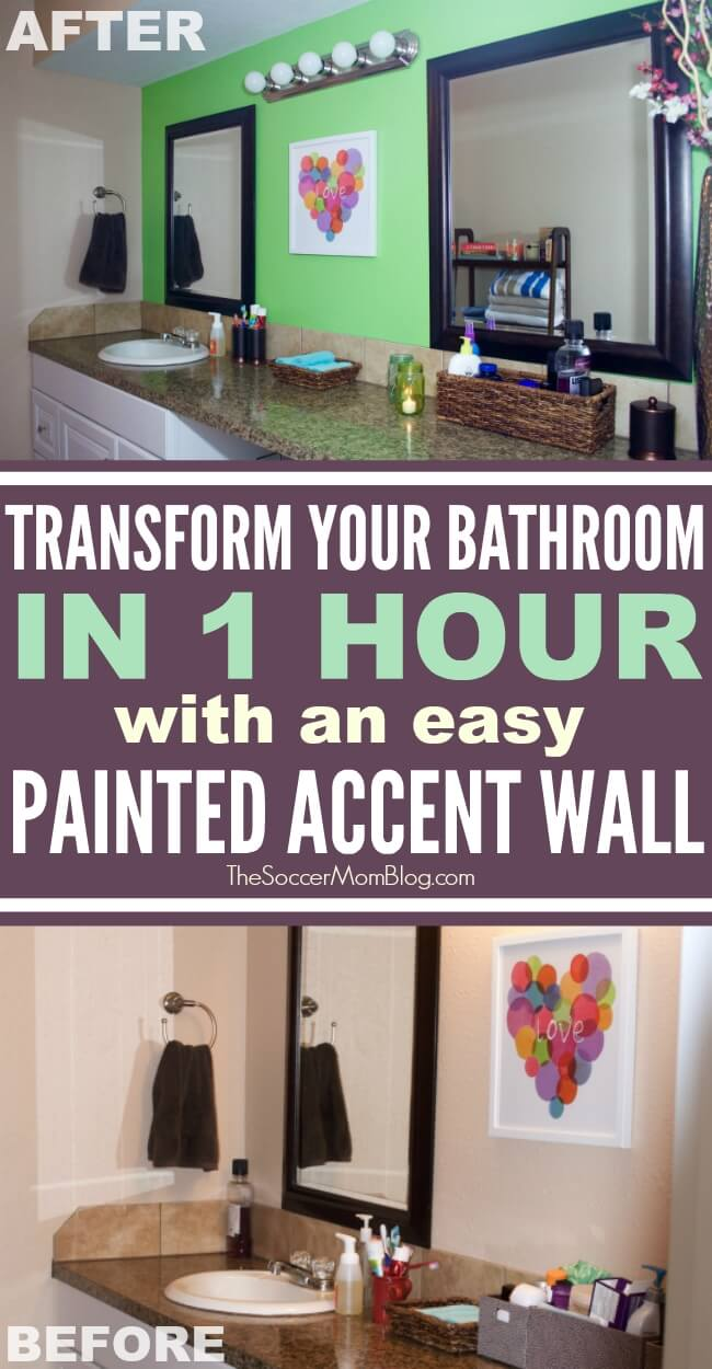 Make a total transformation in hours with this easy bathroom update featuring a painted accent wall and clever storage ideas.