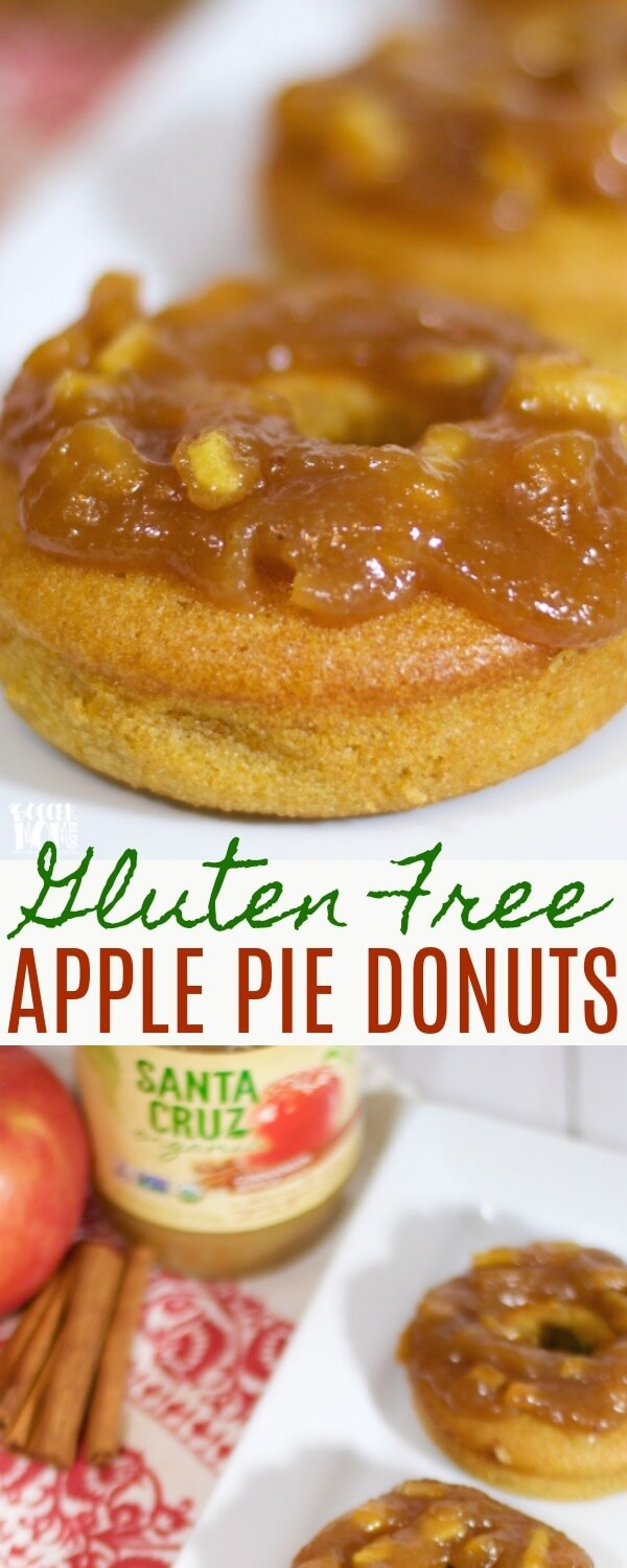 "You'll never guess the ""secret"" ingredient in these delicious Gluten Free Apple Pie Donuts! Believe it or not, they provide a full serving of fruits & veggies, but they taste like a decadent dessert!"