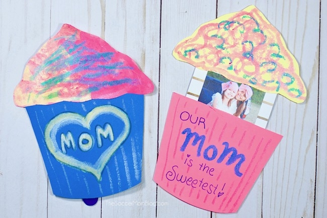 Cupcake Mother's Day card with kids photo inside