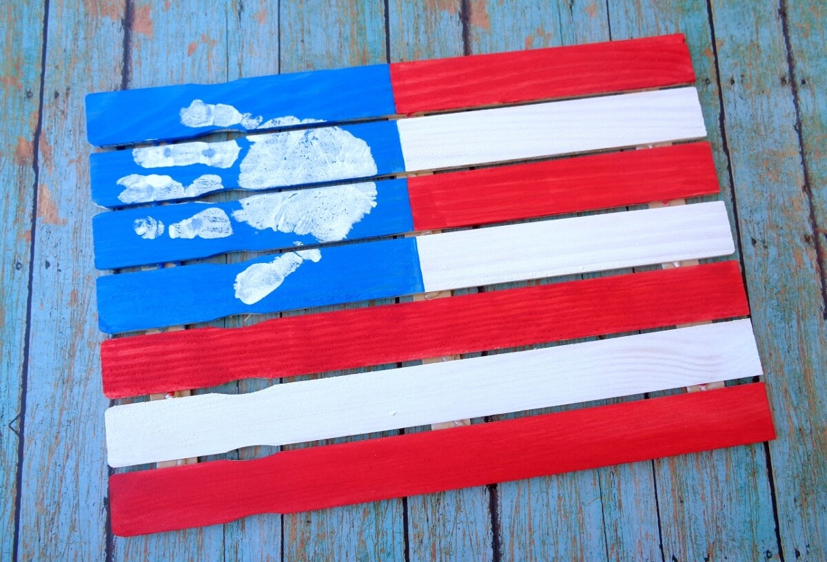 wooden American flag made with kid's handprint
