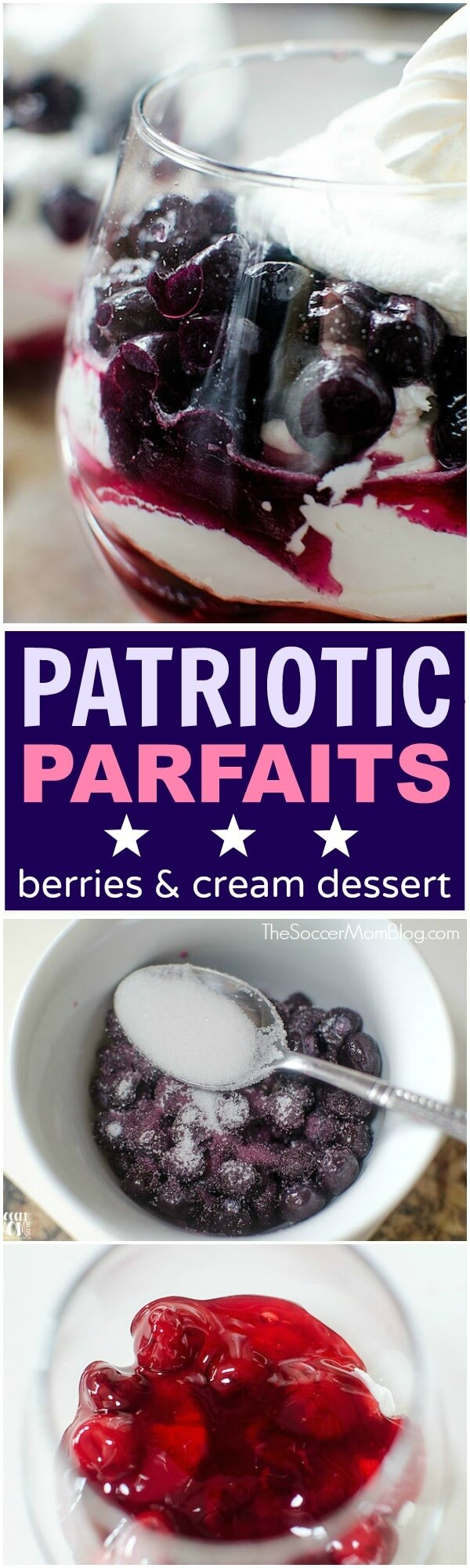 This light, yet luscious Cherry Berry Parfait is a fun & easy summer dessert. A gorgeous red, white, & blue layered treat perfect for a 4th of July party.