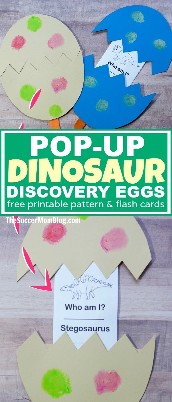 A double boredom buster! These Kids Dinosaur Discovery Eggs are both a clever craft and an exciting learning game to help kids identify different dinosaurs.