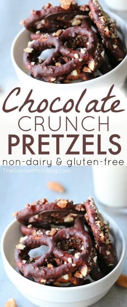 Estos pretzels cubiertos de chocolate sin lácteos y sin gluten son la combinación perfecta de dulce y salado para deleitar su paladar, ¡sin los ingredientes no saludables de muchos bocadillos preenvasados!