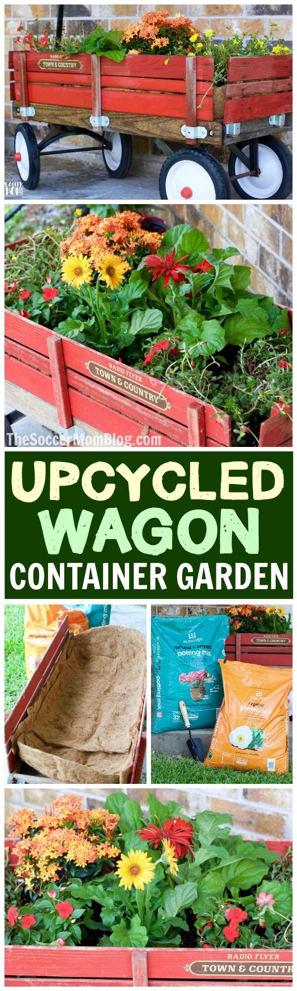 This gorgeous Vintage Wagon Garden Planter is an easy DIY home container gardening idea you can put together in 30 minutes or less — no tools required!