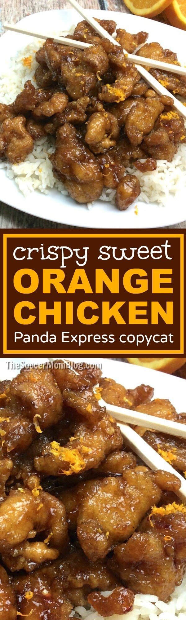A spot-on copy cat of Panda Express' famous Crispy Orange Chicken that you can easily make at home. Simple, real ingredients for this Chinese food fav!