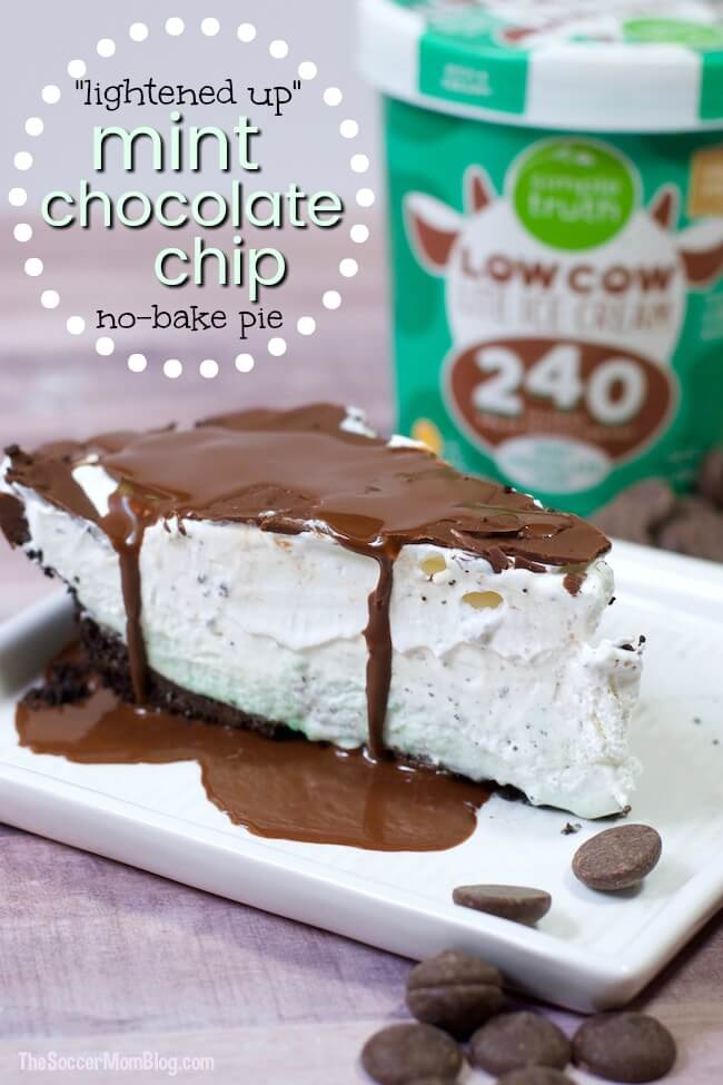 This awesome no-bake recipe has all the refreshingly cool flavor you love in a Mint Chocolate Chip Pie, but with one simple swap to lighten it up!