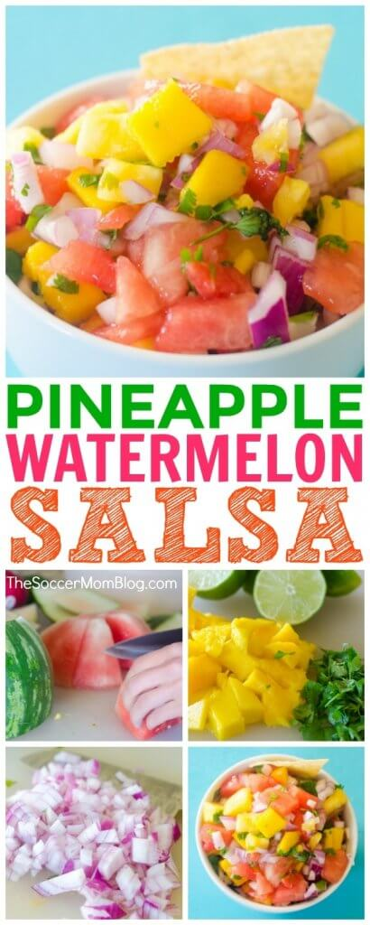 This simple, fresh Watermelon Salsa recipe adds a sweet and tangy kick to just about any meal, or of course you can serve as an appetizer with chips (try it with plantain chips!) It's easy to make, delicious, and so much healthier than other condiments!