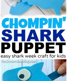 Chompin' Foam Shark Puppet – Shark Week 2019 Kids Craft
