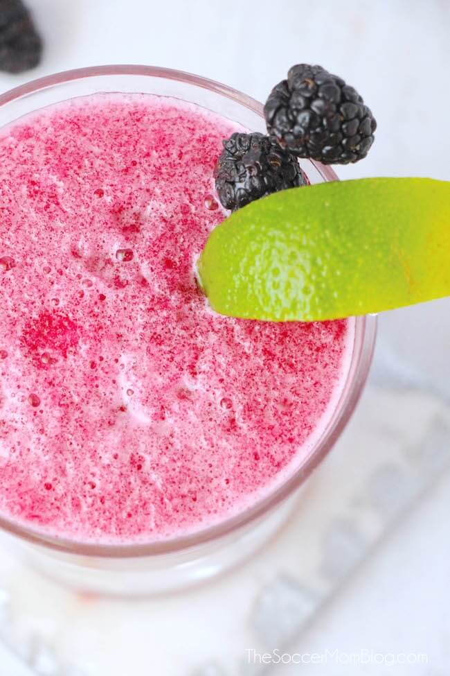 Close-up of frozen blackberry margartita