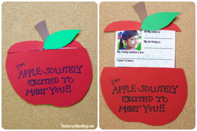 This pop-up apple teacher card is an adorable way to for your child to introduce themselves to their new teacher! An easy paper craft for kids.