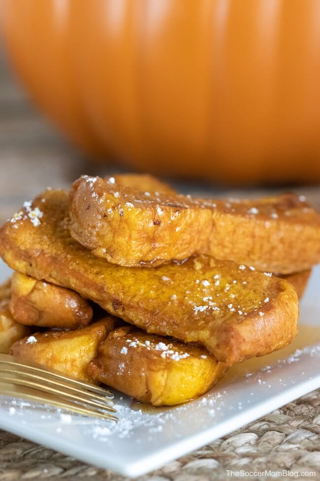 Light, fluffy, and packed with pumpkin spice goodness, this easy Pumpkin French Toast is the ultimate fall breakfast treat!