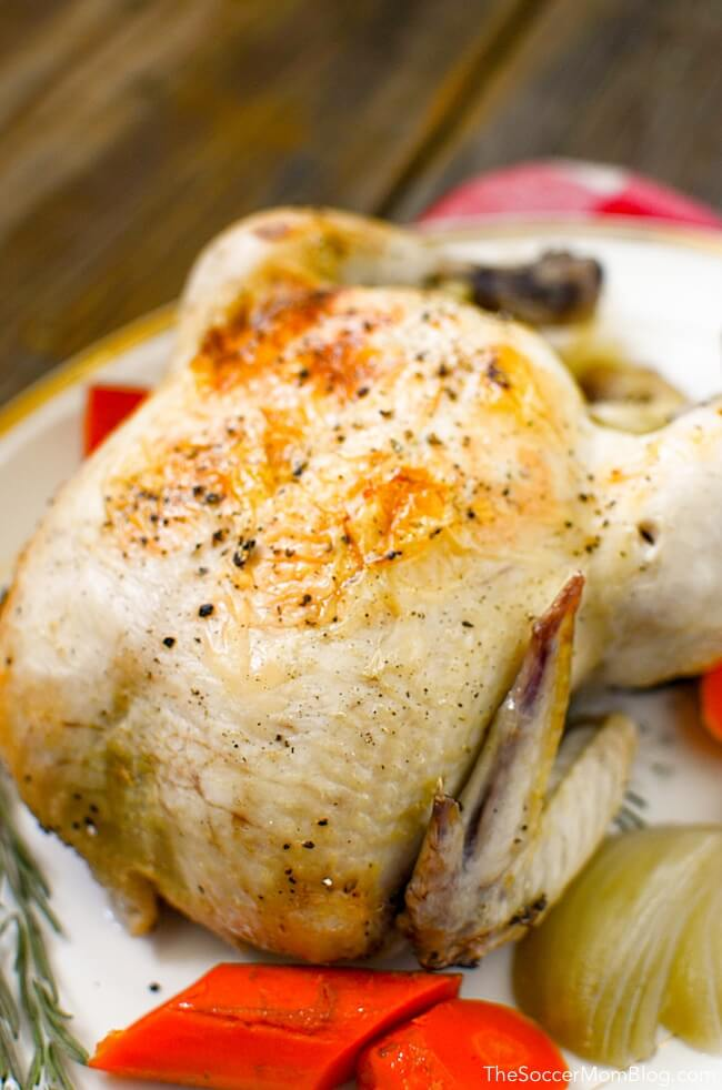 Cooking chicken in crockpot will give you perfectly tender and juicy slow cooker rotisserie chicken every single time!