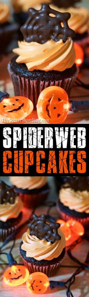 Make these easy Spiderweb Cupcakes for Halloween! Click for step-by-step photo and video recipe to make chocolate spider & spiderweb cupcake toppers.