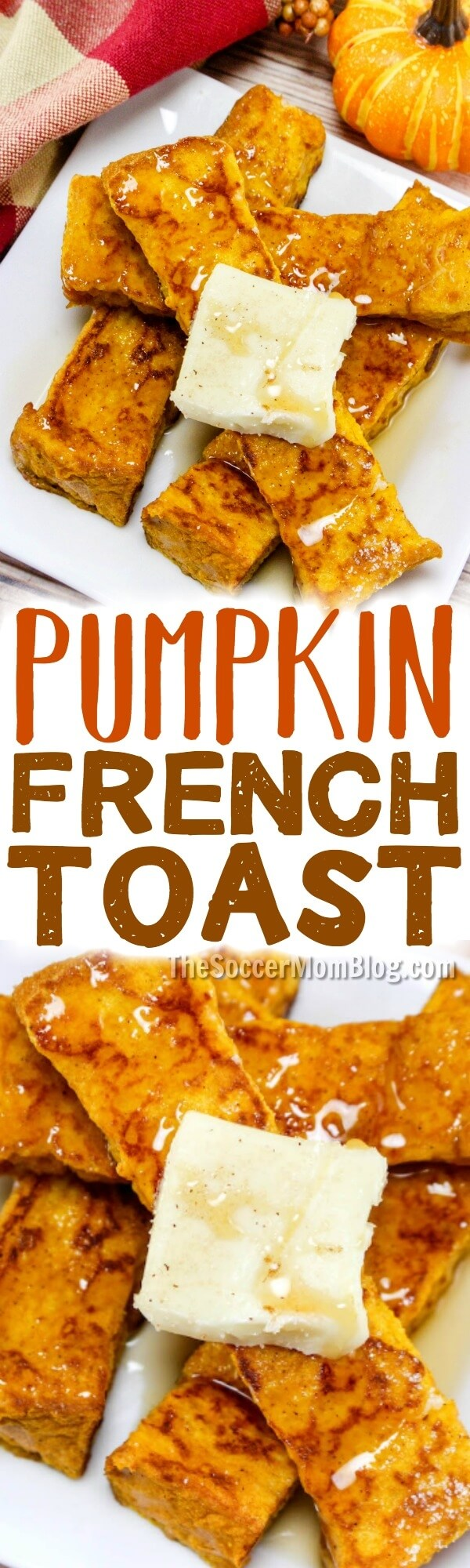 Easy Fall breakfast recipe - Pumpkin French Toast Sticks are our new favorite! Made with real pumpkin!