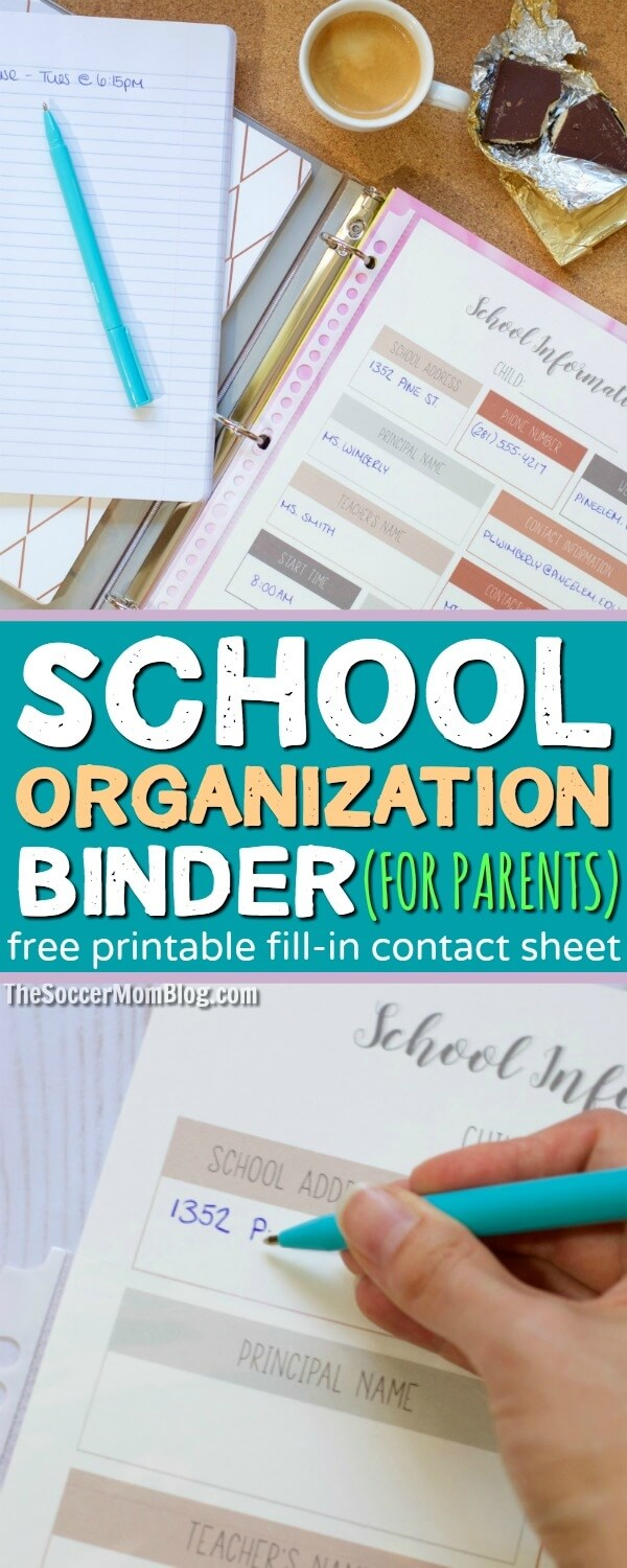 Never lose an important school paper again with this DIY school organization binder (for parents!) FREE printable fill-in school information & contact sheet