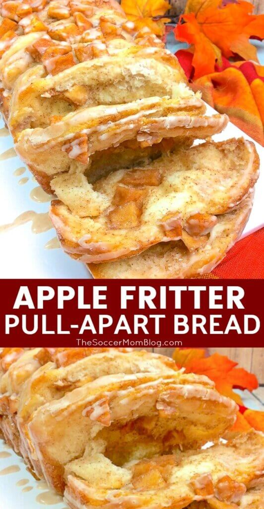 layers of flaky biscuit dough filled with sweet cinnamon apples and topped with a luscious glaze - this apple fritter bread is the ultimate fall dessert!
