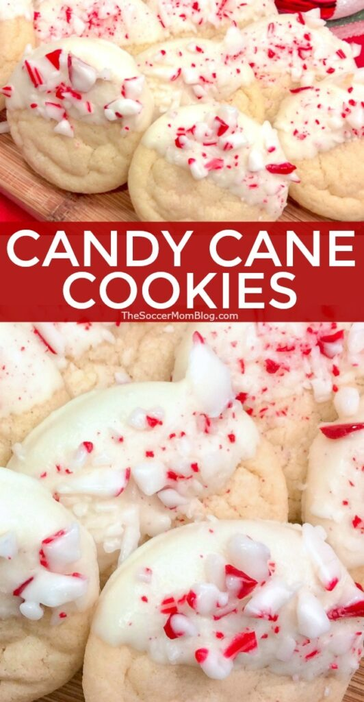 Candy Cane Cookies: Soft sugar cookies dipped in rich white chocolate and crushed peppermint candies. A wintery tasting treat and one of our favorite Christmas cookie recipes!