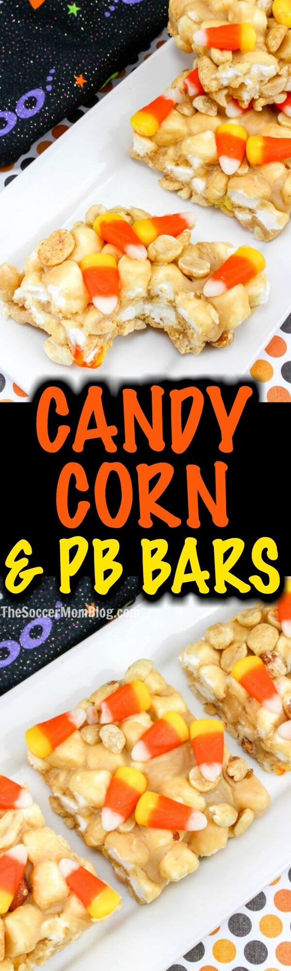 These Crunchy Peanut Butter & Candy Corn Treatsare packed with pure awesomeness!! Crunchy, chewy, sweet, and salty (and they're gluten free!)