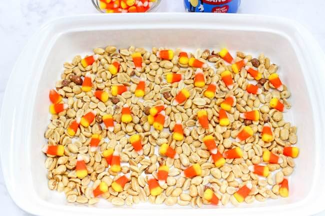 candy corn and peanuts in pan