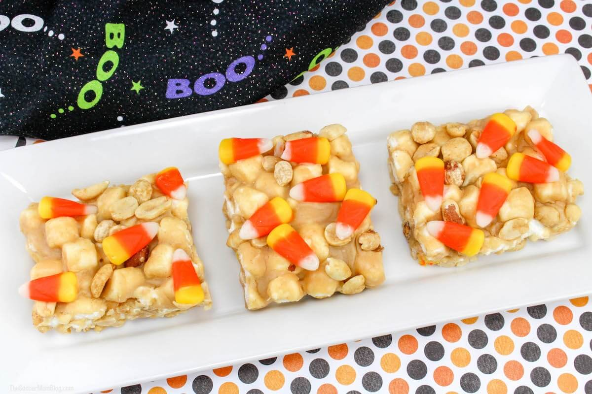 candy corn treats on white plate