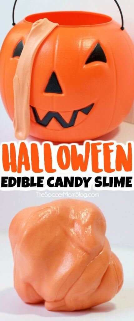 Click for video tutorial to make super stretchy EDIBLE Candy Slime using leftover Halloween candy!
