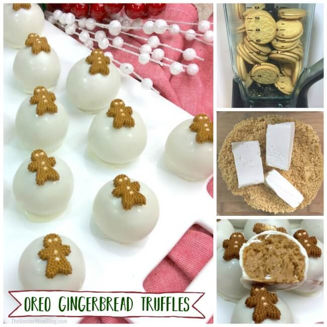 Adorable Oreo Gingerbread Truffles perfect for holiday parties or gifting. Easy no-bake Christmas dessert recipe kids can help make.