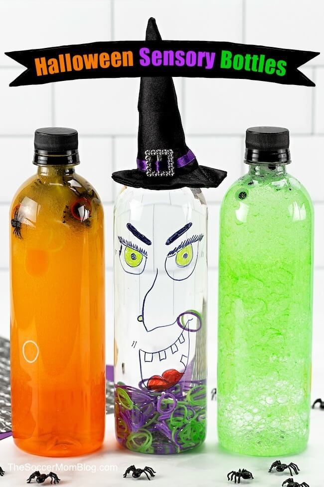 These Halloween sensory bottles are fun to make as a Halloween kids craft or calm-down tool. Keep reading for 3 spooky DIY Halloween bottles and video tutorials to learn how to make them!