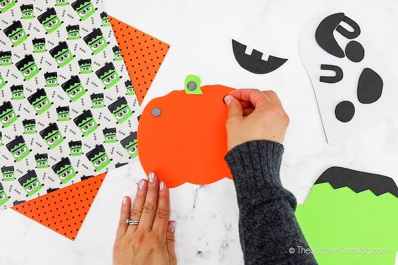 gluing magnets on back of foam pumpkin