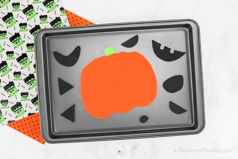 Halloween magnets on sheet pan