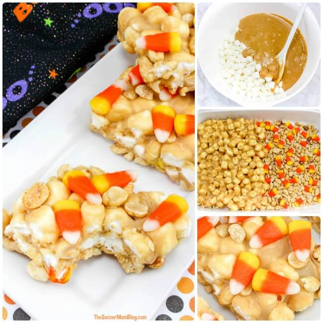 Easy Halloween kids dessert recipe - Peanut Butter & Candy Corn Marshmallow Treat Bars